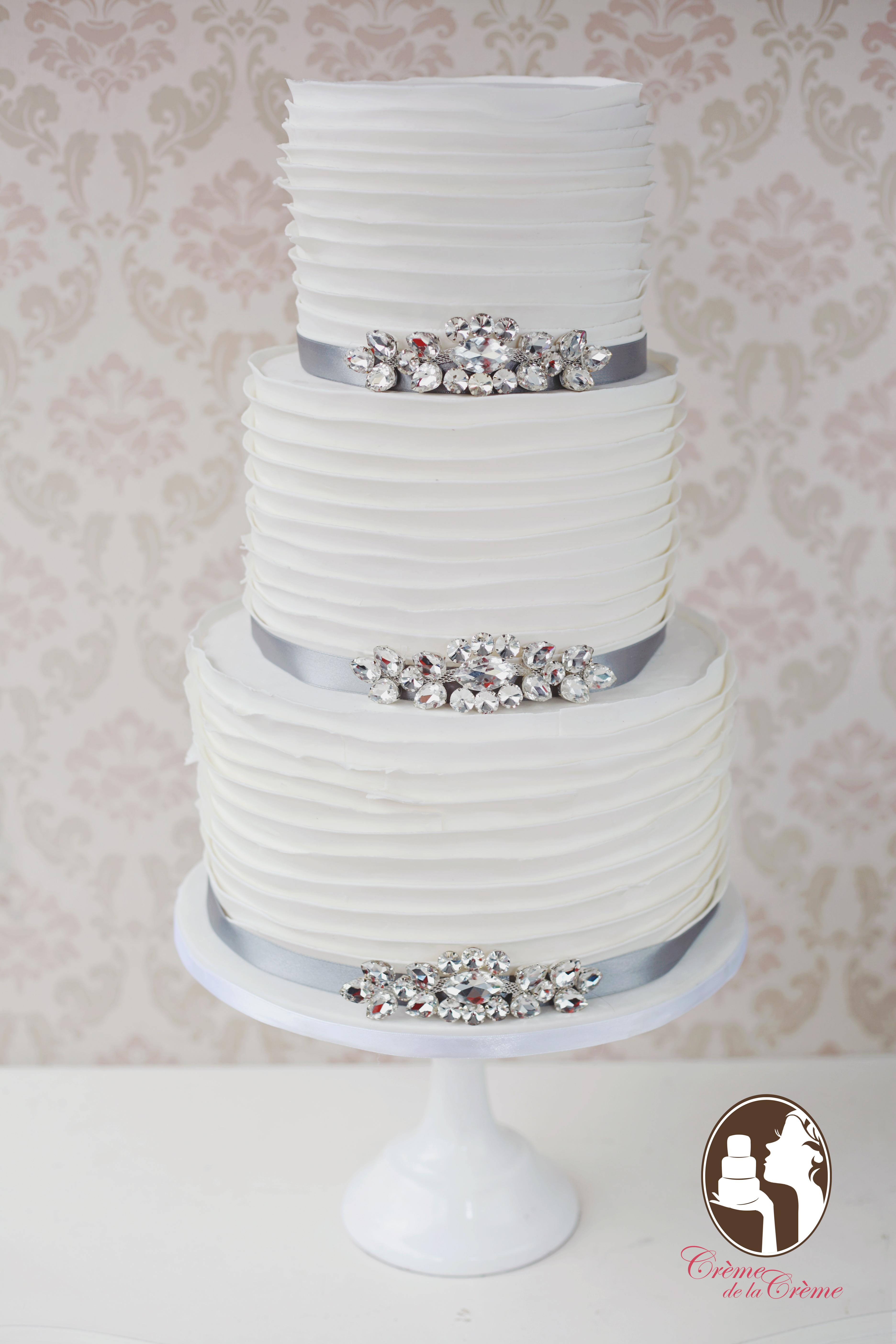 White Ruffle Wedding Cake by Creme de la Creme Bali   Bridestory.com