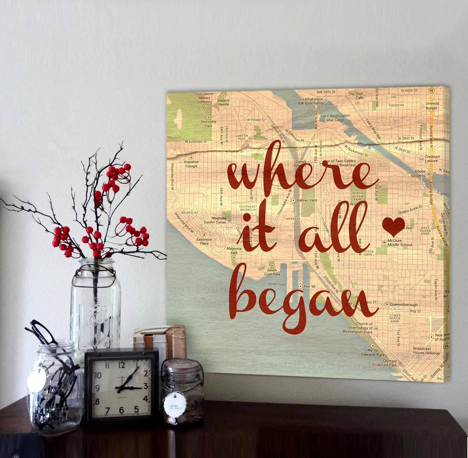 Vintage Map Customized with Places City Art Geographical Location ...