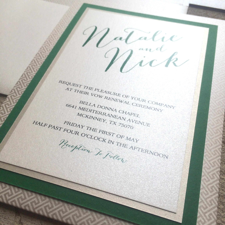 Champagne & Emerald Green Pocket Wedding Invitation by Brown Fox ...