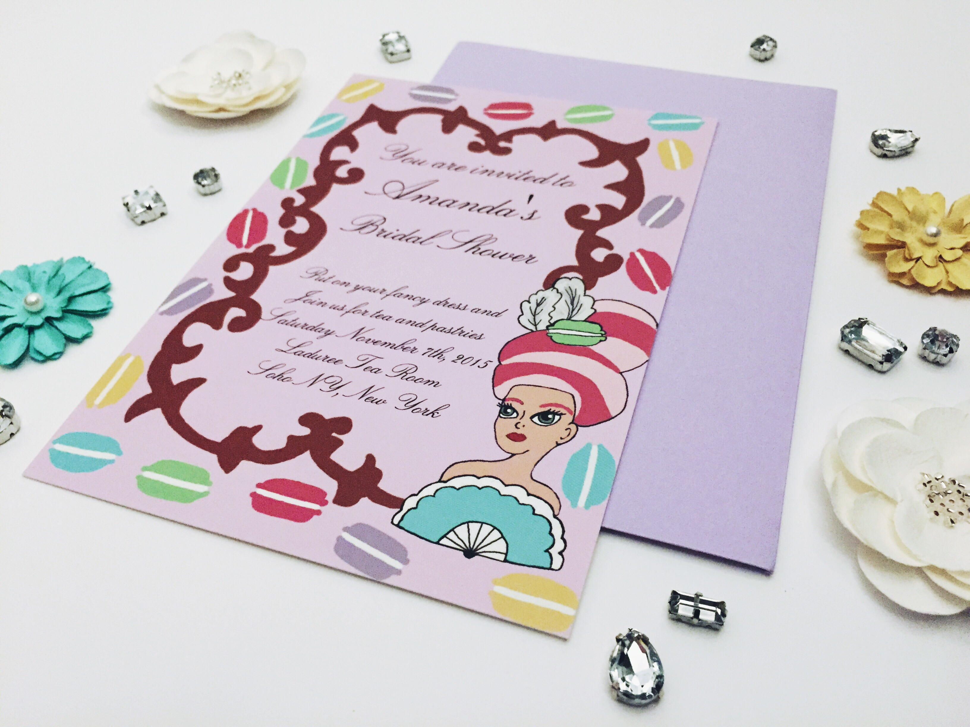 Marie Antoinette macaron bridal shower invitations and favors by ...