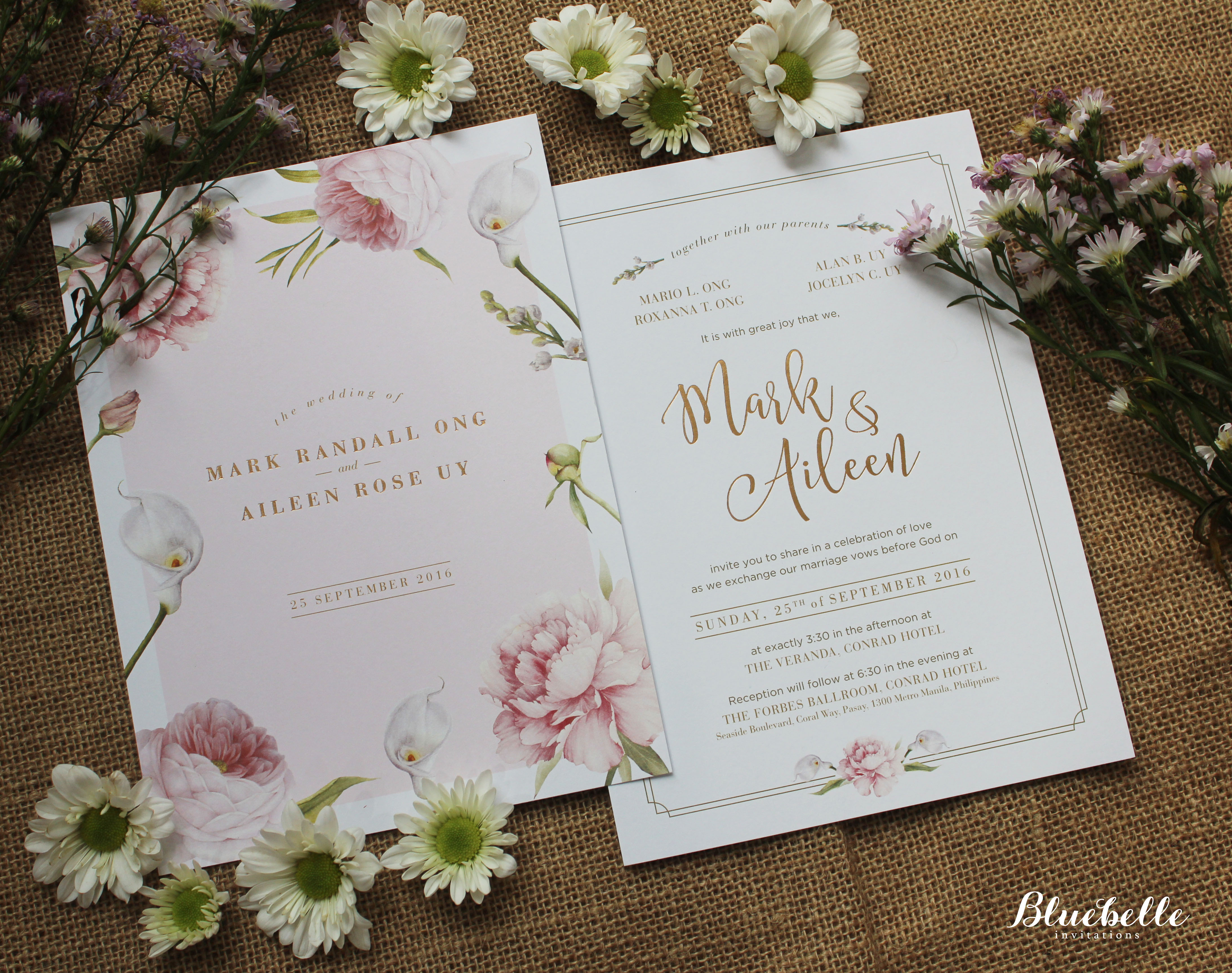 Mark aileen rose quartz floral invitation by bluebelle mark aileen rose quartz floral invitation by bluebelle invitations bridestory stopboris Gallery
