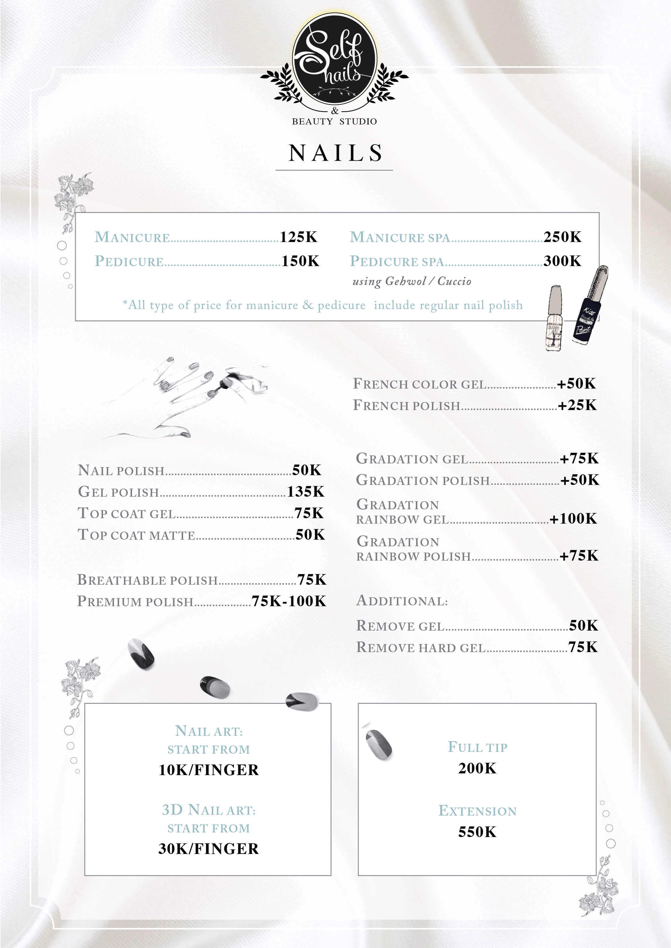 Price list by self nails bridestory prinsesfo Image collections
