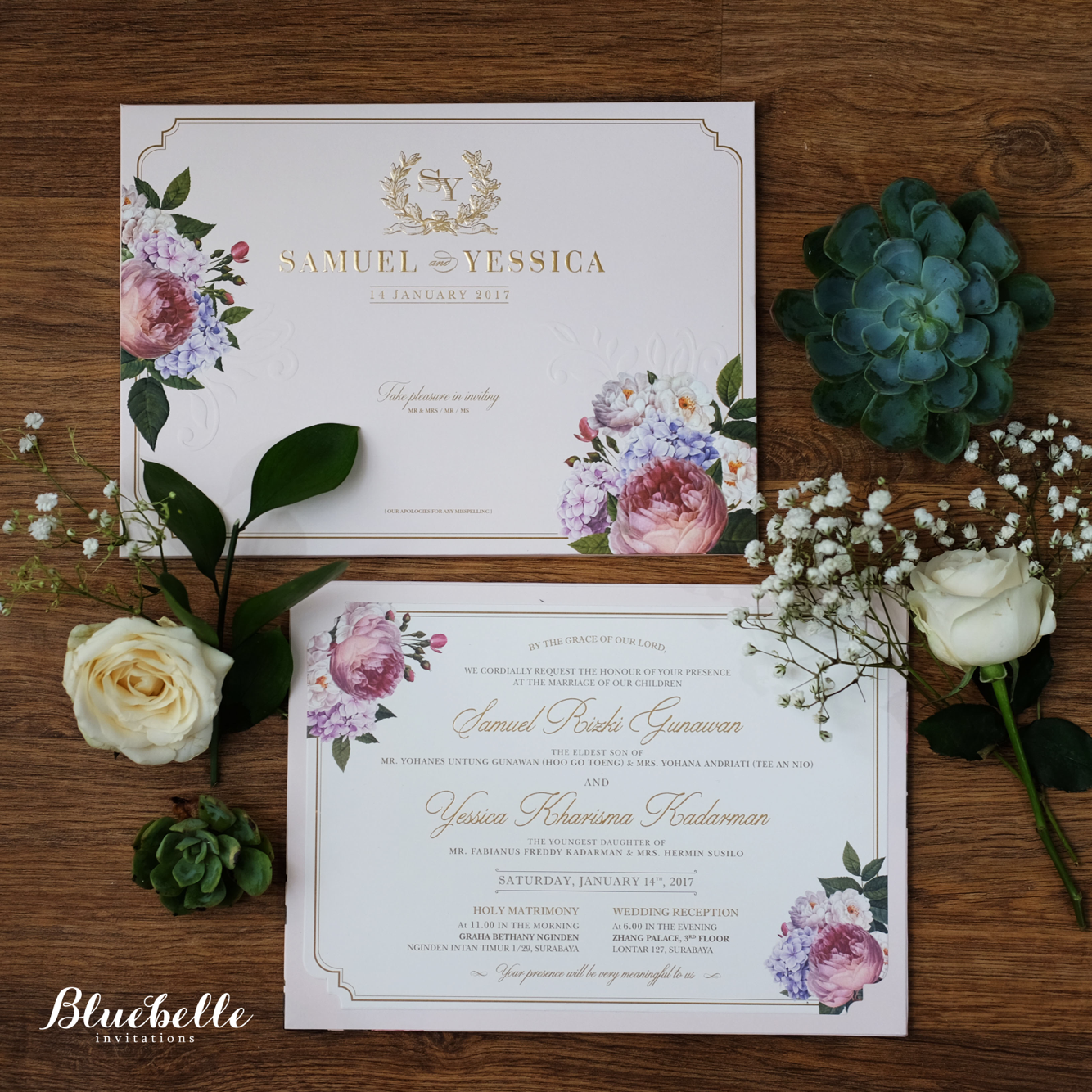 Samuel yessica pink floral wedding invitation by bluebelle samuel yessica pink floral wedding invitation by bluebelle invitations bridestory stopboris Gallery